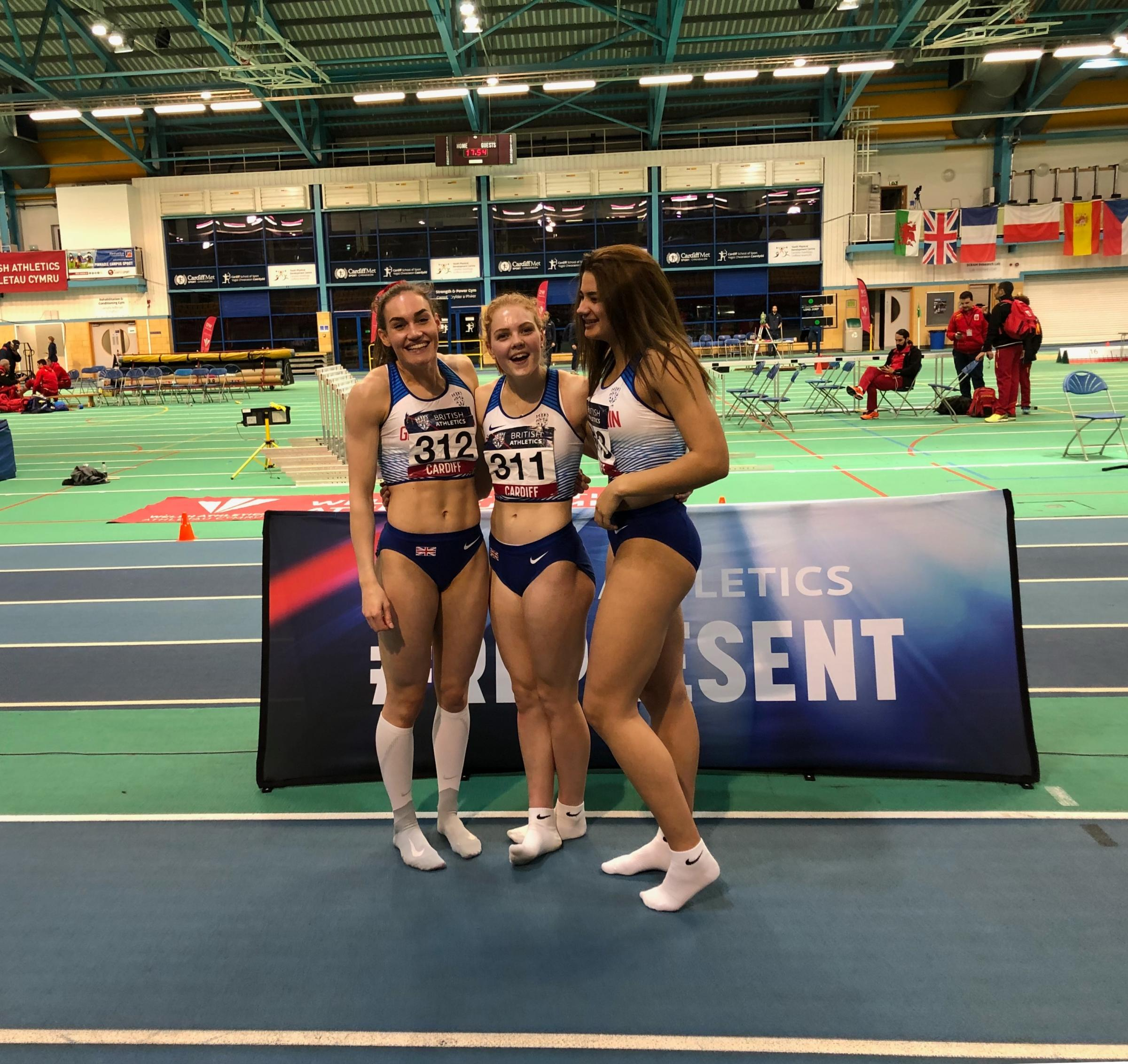 Jenna Blundell (centre) on her recent debut for Great Britain and celebrating with her team-mates