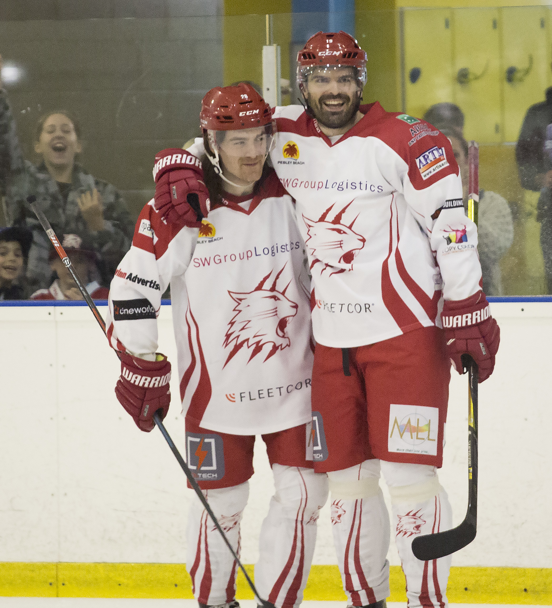 Swindon Wildcats player-coach Aaron Nell (right) pictured with D-man Stevie Whitfield