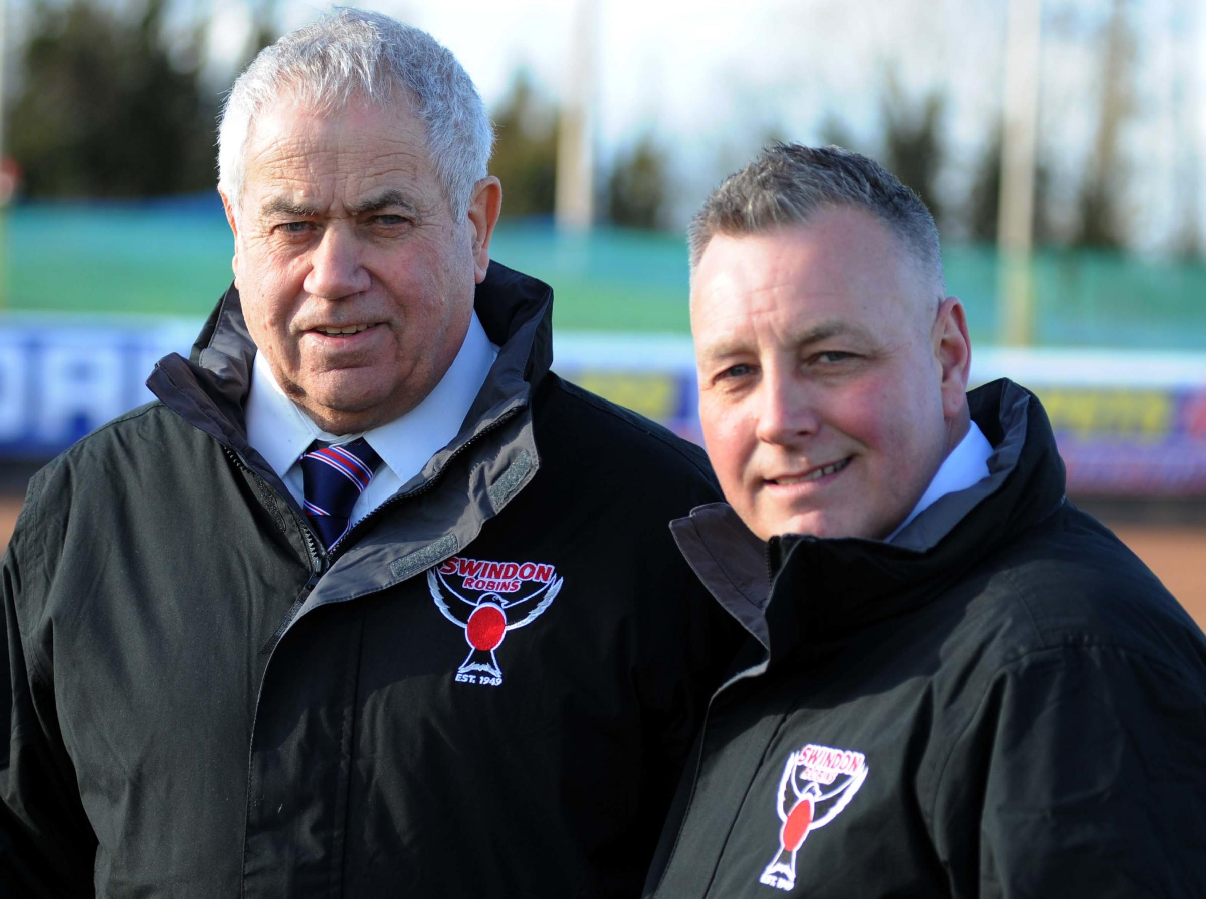 Swindon Robins' Press Day        Pic Dave Evans   24.3.15.Team boss Alun Rositer withg co-promoter Colin Pratt.