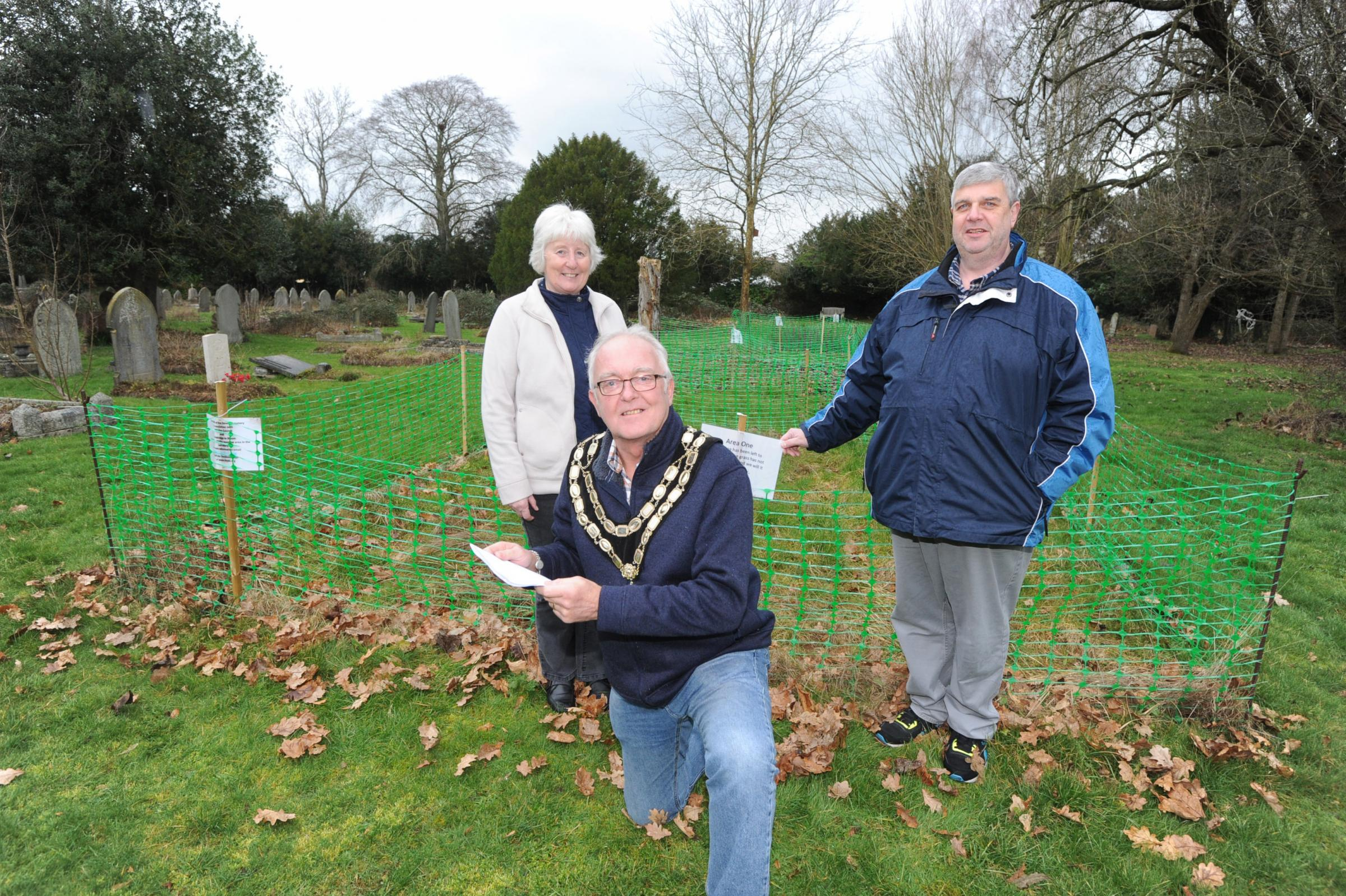 Trowbridge Mayor Dennis Drewett, his wife Lynn and Robert Wall want to plant seeds for a wildflower meadow at The Down Cemetery with Co-op funds Photo: Trevor Porter 60204/1