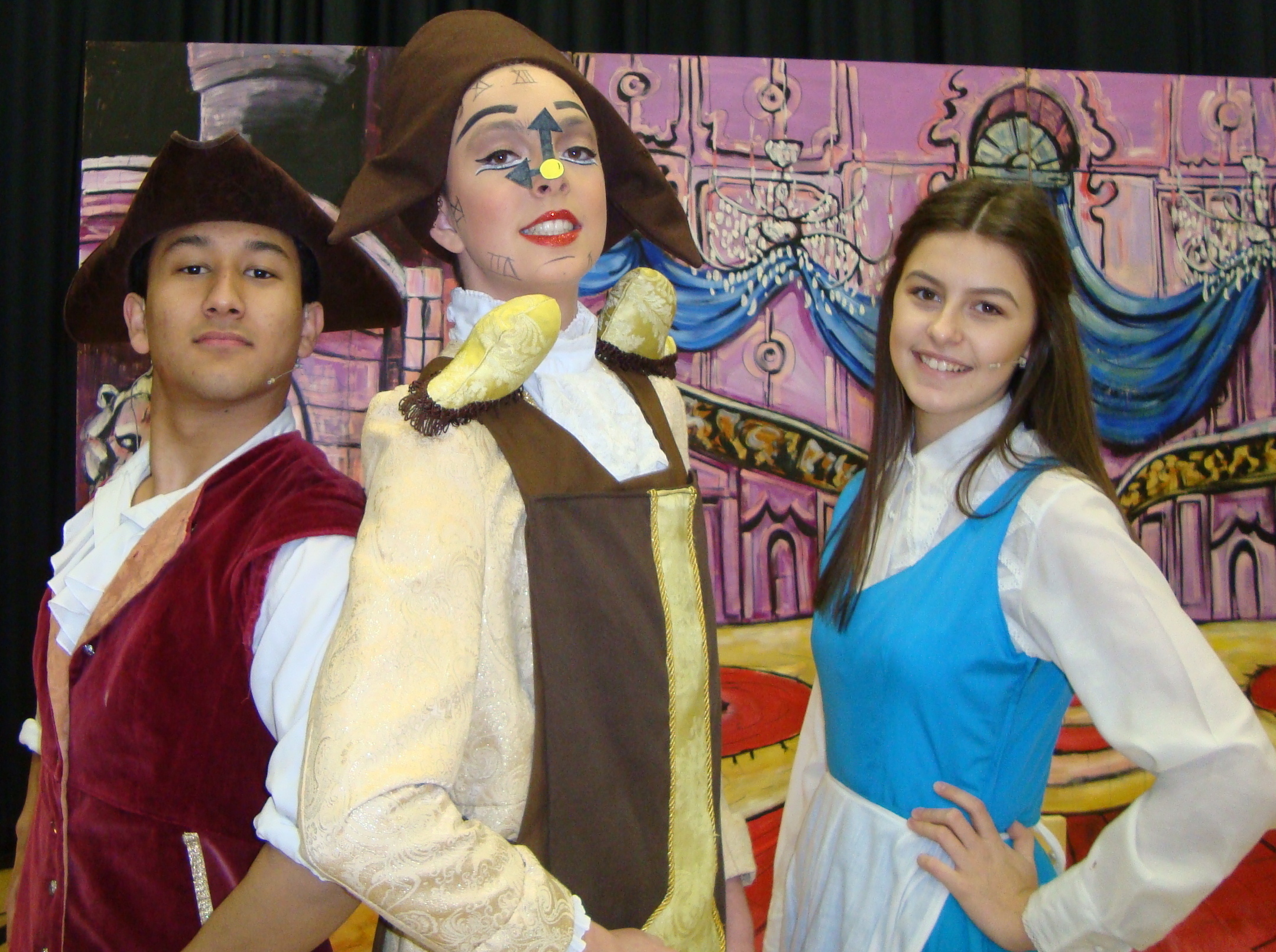 Gaston, Cogsworth and Belle in Beauty & the Beast