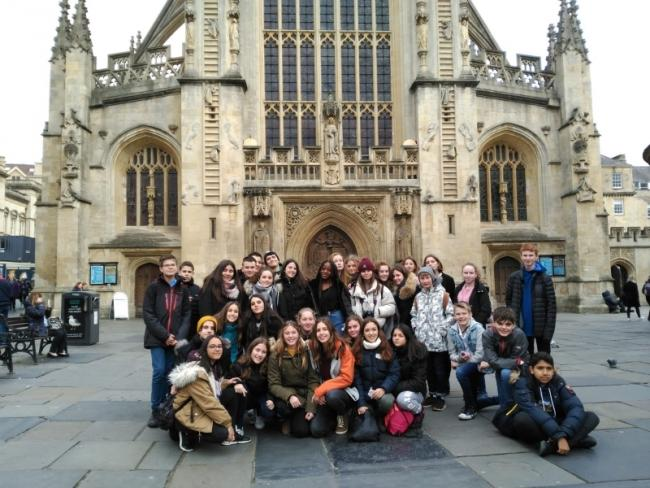 Spanish exchange students from Zaragoza with Warminster School pupils on their trip to Bath.