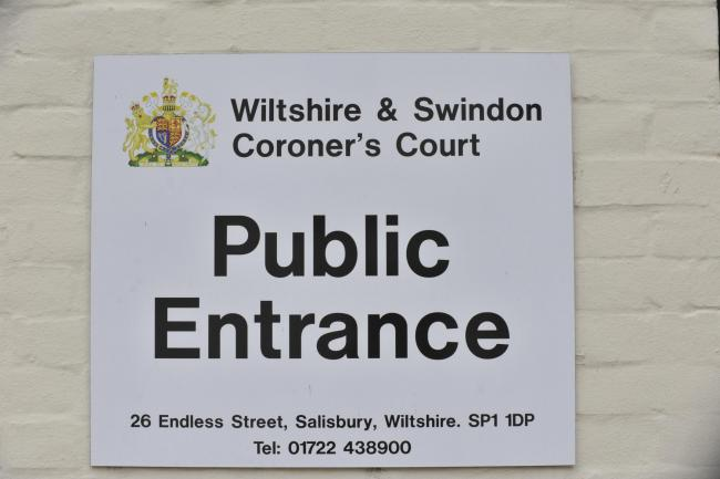 Stock shot Salisbury coroners court sign for ... triple fatal inquest... .Glenn Phillips.