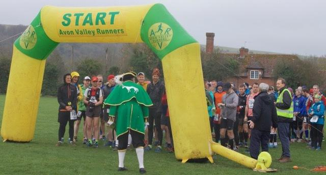 Runners line up for the start of the Imber Ultra Marathon in Westbury