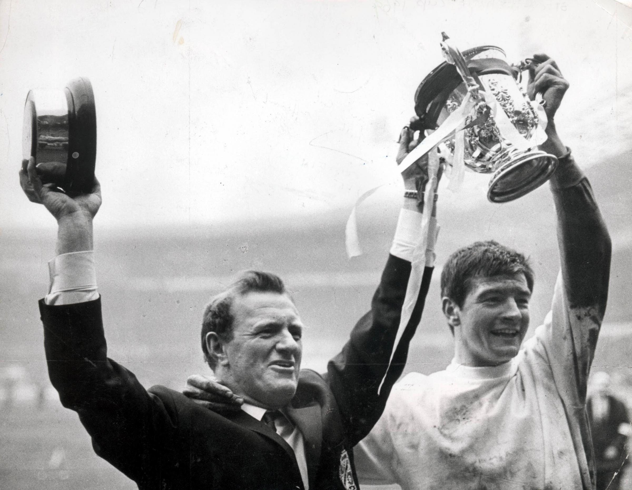Swindon Town 1969 League Cup final - Town manager Danny Williams and captain Stan Harland celebrate with the trophy after their victory over Arsenal at Wembley