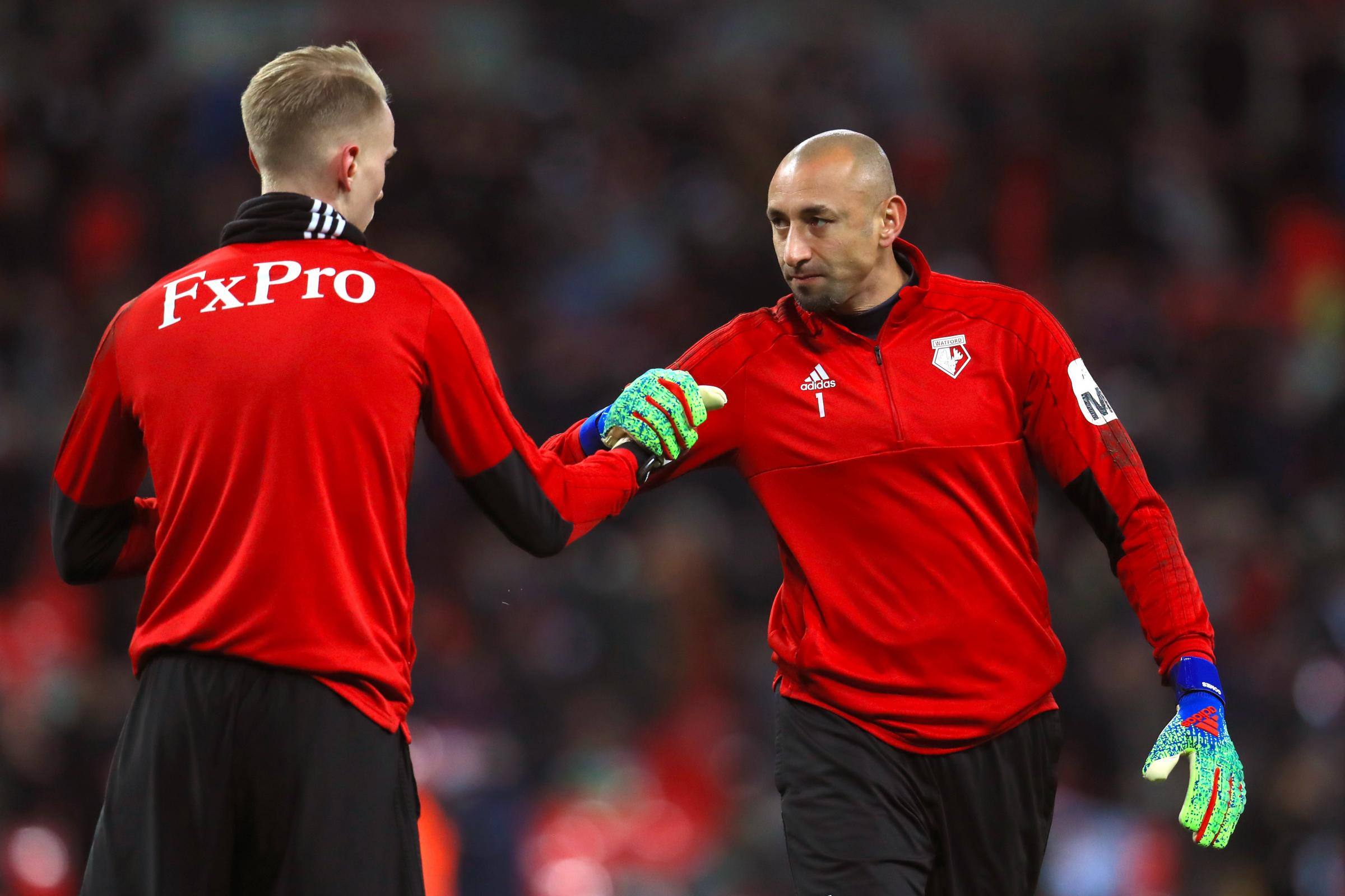 Heurelho Gomes (right) has kept three clean sheets in the FA Cup this season
