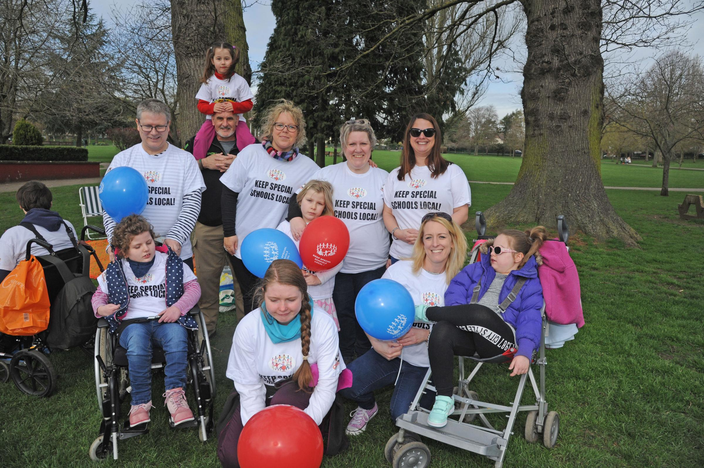 Party in the Park for Save St Nicholas campaign.  Campaigners in their  Keep special schools local.Photo Trevor Porter 60301 3..