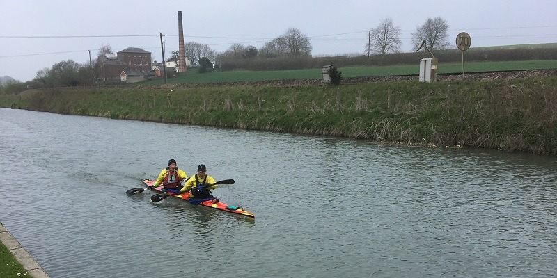 Devizes Canoe Club's Kevin Crabb and Neil Edgar in action in the latest Waterside Series