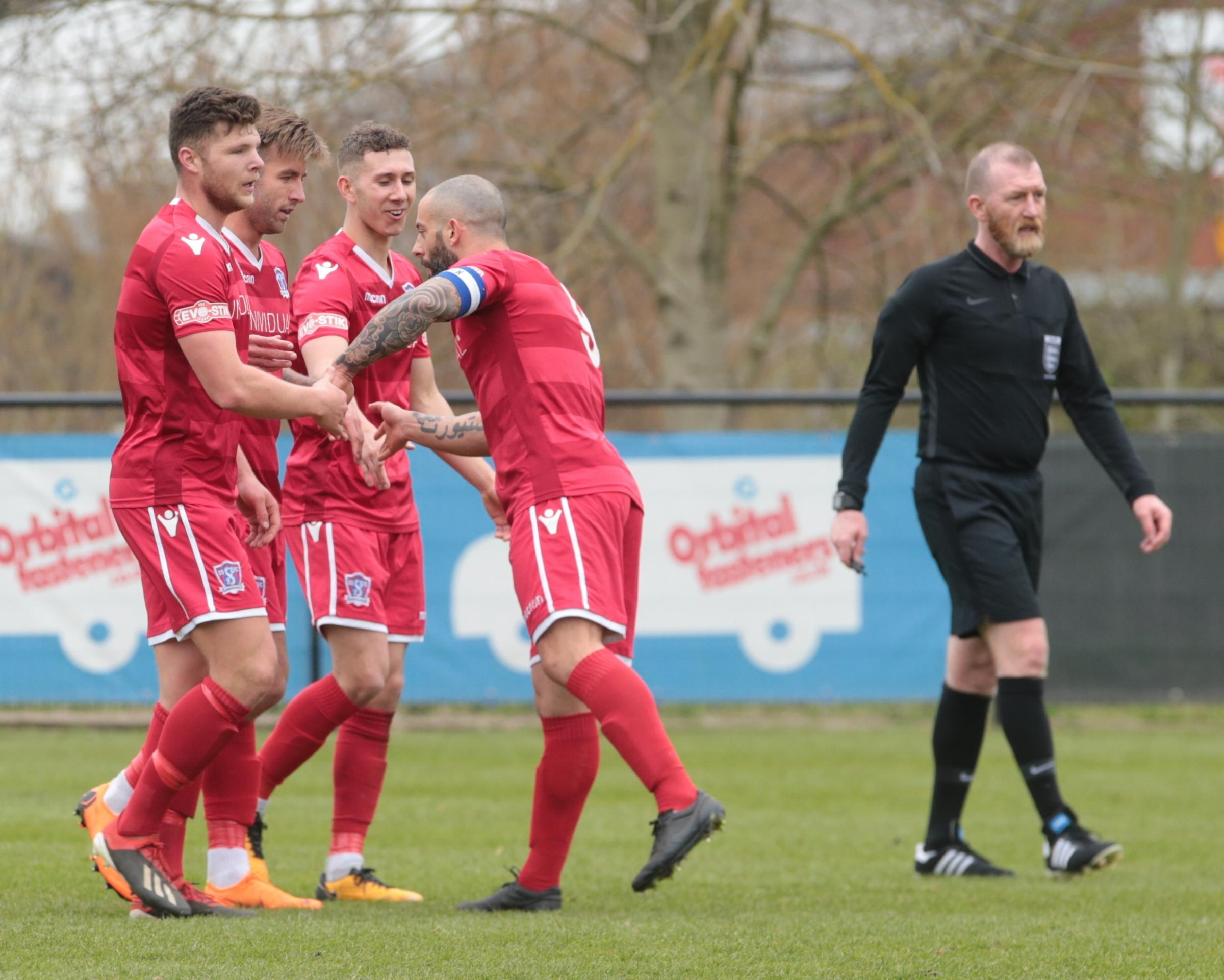 Swindon Supermarine celebrate a goal during last weekend's win at Kings Stanley. The South Marston side are looking to follow that up with another victory at home to Metropolitan Police in Southern League Premier Division on Saturday		      Picture: