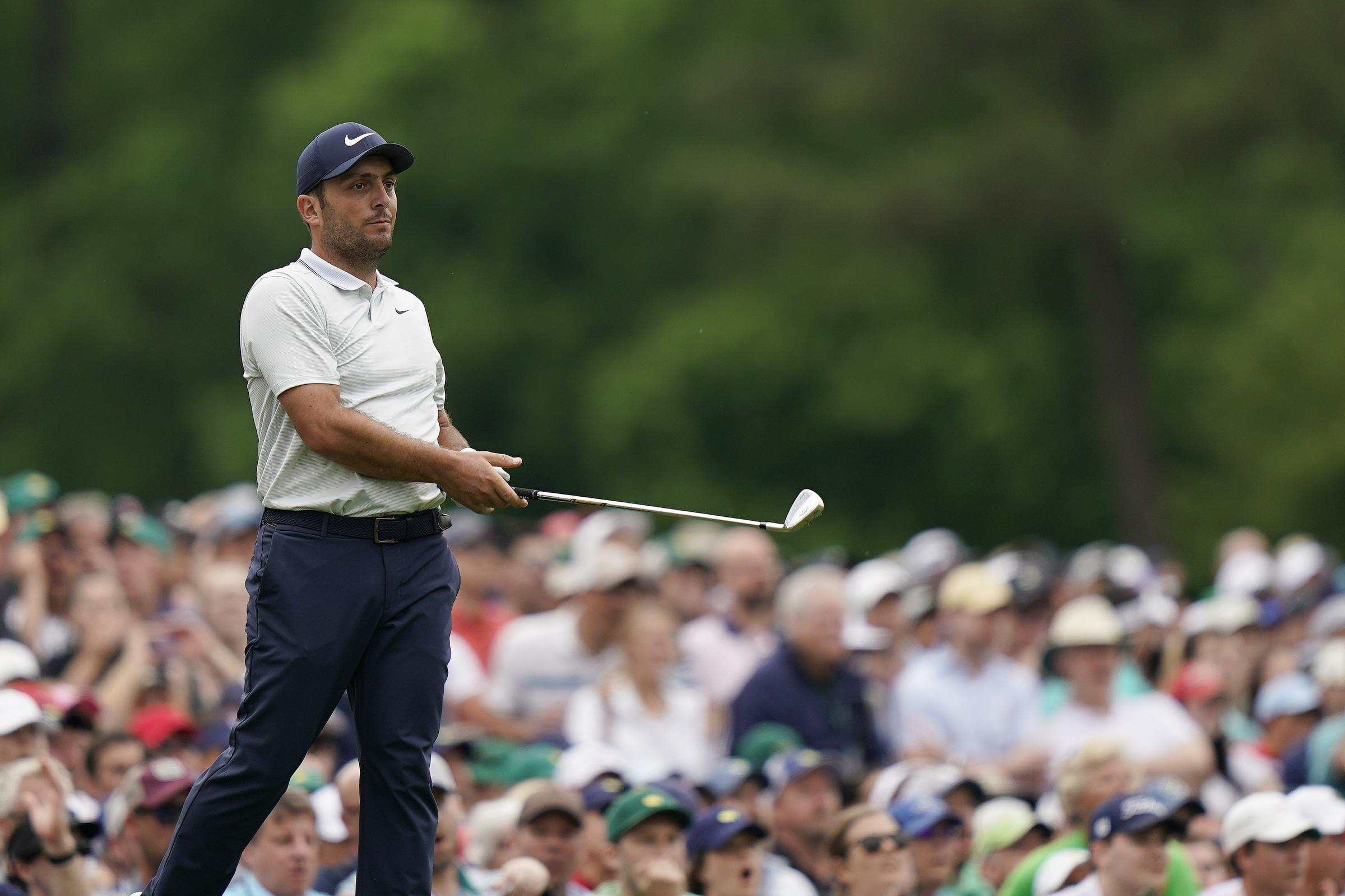 Francesco Molinari's hopes of winning The Masters evaporated with two double bogeys on the back nine at Augusta
