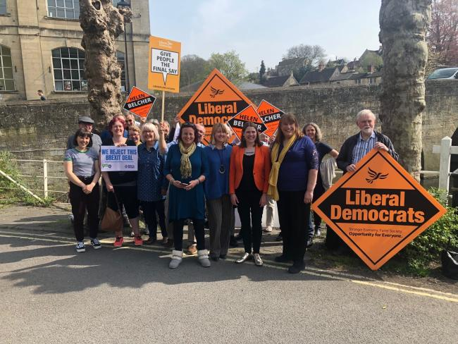 Jo Swinson with candidate Helen Belcher and electors in Bradford on Avon.