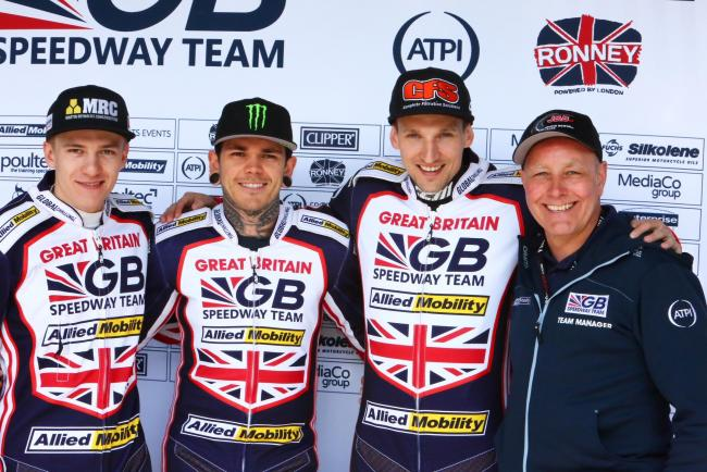 The Great Britain trio of Robert Lambert, Craig Cook and Tai Woffinden with team boss Alun Rossiter at the Speedway League of Nations Event Two meeting at the National Speedway Stadium in Manchester. Picture: LES AUBREY.