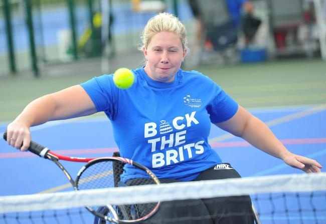 Paralympic Louise Hunt from Swindon will  be at the Gerard Buxton sports ground with the Davis Cup Trophy..Pic - Louise Hunt .Date 19/8/16.Pic By Dave Cox..
