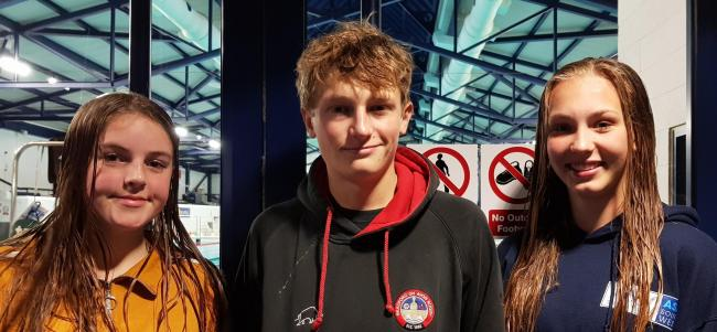 (From left) Bradford on Avon Swimming Club's Maddie Brady, James Seller and Katie Cooper have been picked to represent the South West at national inter-district water polo tournament