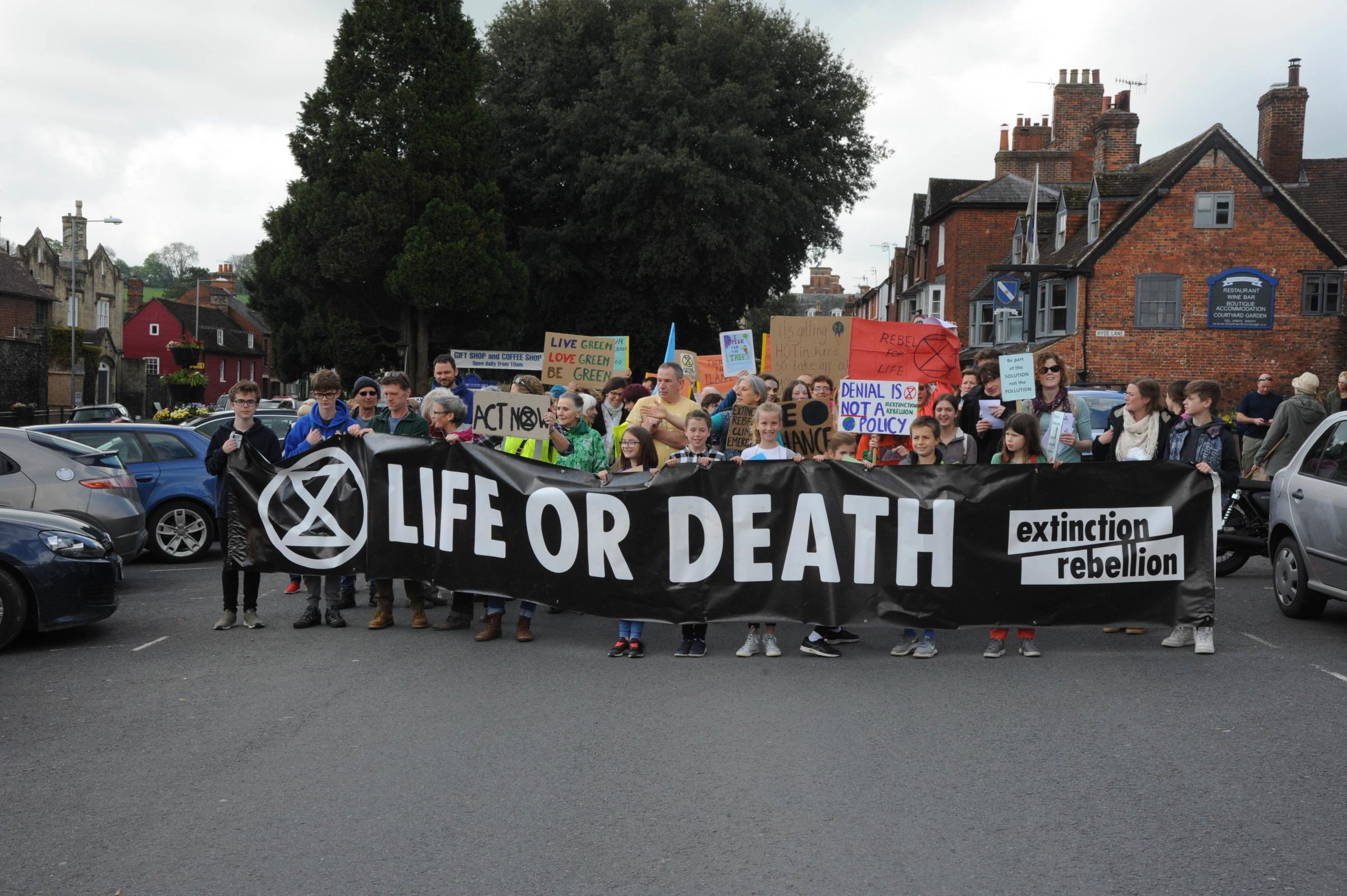Extinction Rebellion Marlborough.   Campaigners assemble on the High Street at the Extinction Rebellion Marlborough. Photo Trevor Porter 60371 6