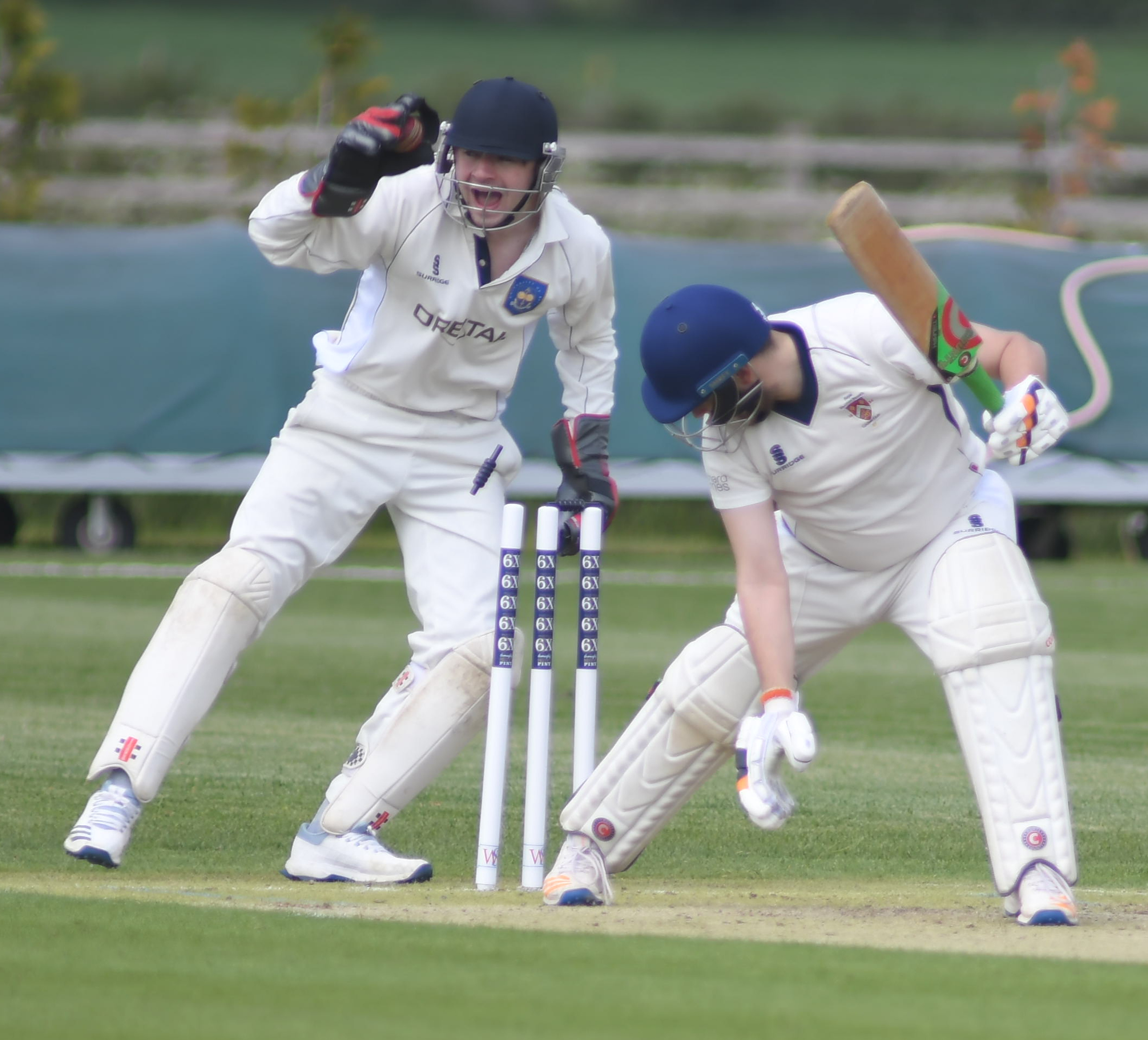 Royal Wootton Bassett batsman Jack Paish is stumped by Purton wicketkeeper Joel Welsby during the latter's weekend win