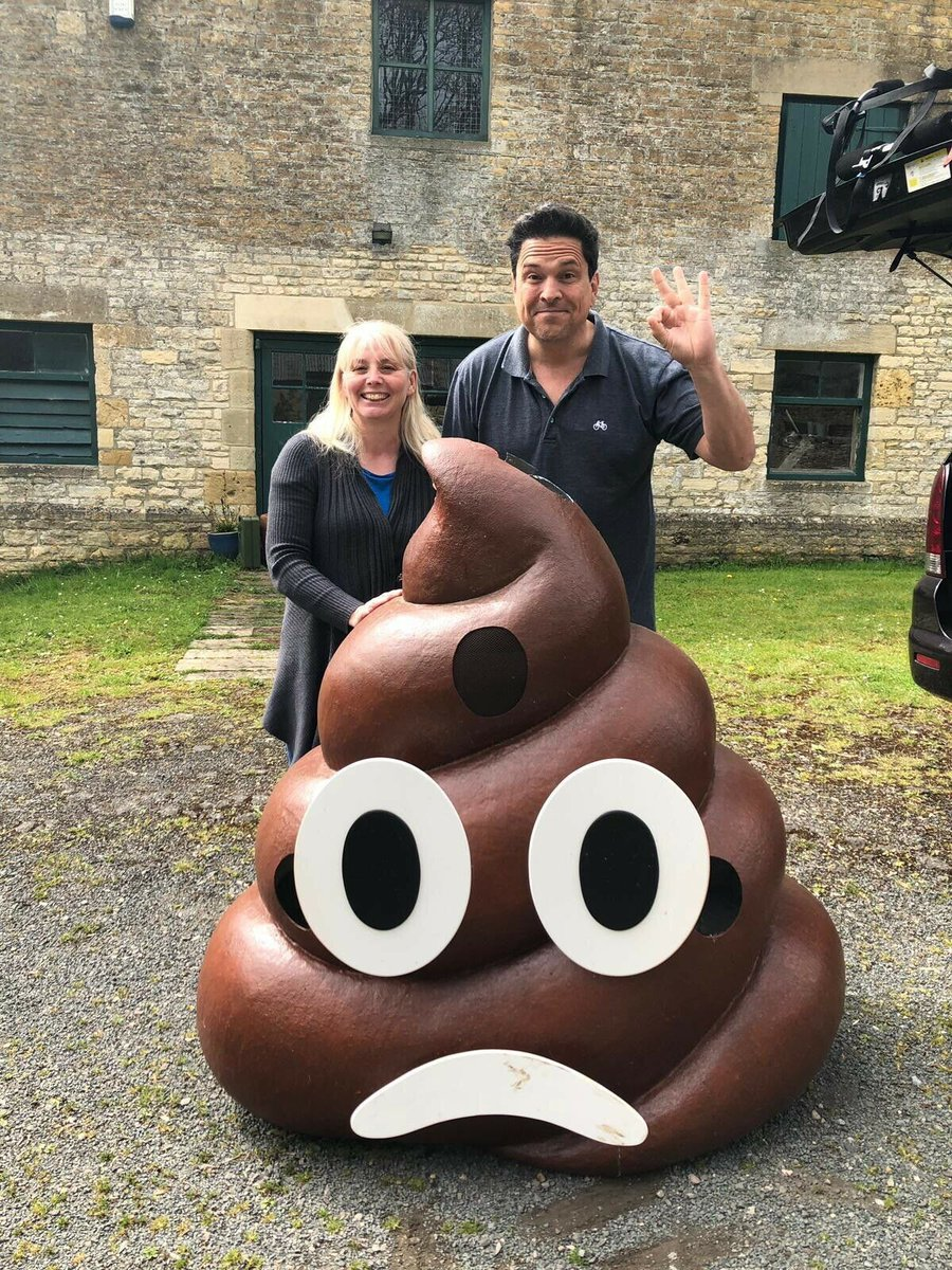 Samantha Backway and Dom Joly with the poo emoji Picture: TWITTER