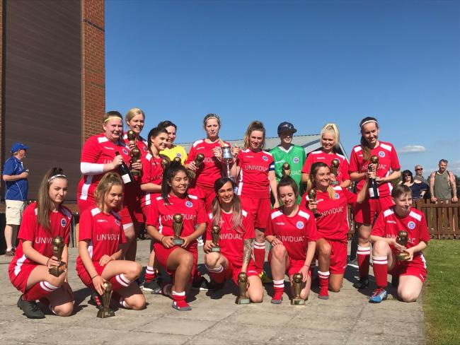 Swindon Supermarine Ladies celebrate their league title success