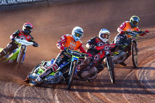Troy Batchelor leads the way for Swindon Robins in heat four against Belle Vue Aces. PICTURE: LES AUBREY