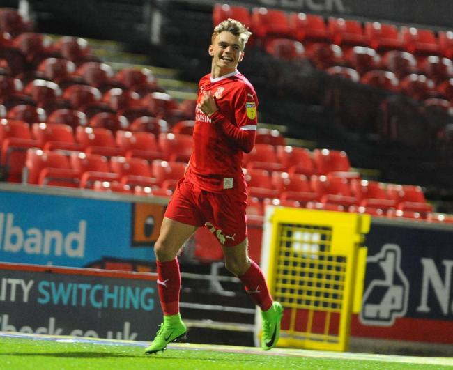 Scott Twine celebrates his most recent goal for Swindon Town, which came in the League Two victory at home to Stevenage last November